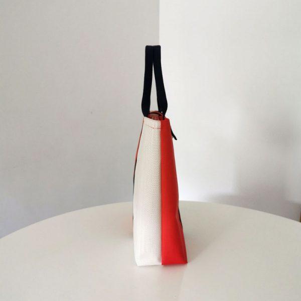 Bolso Laredo color rojo y blanco vista lateral