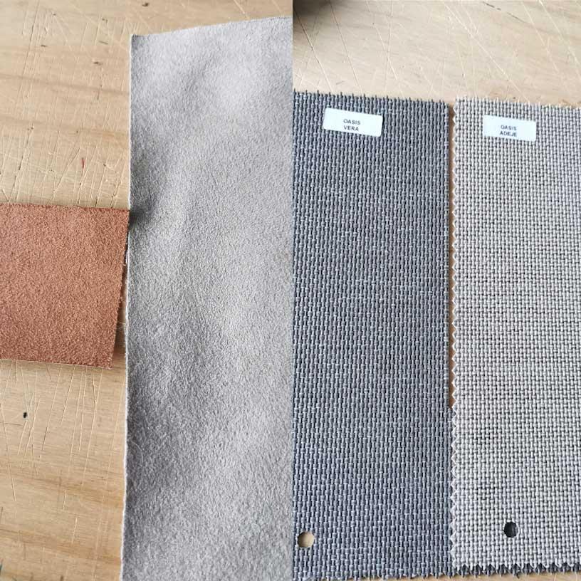 muestra de materiales de los bolsos de Irene calvo